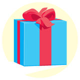 Blue gift box with a red ribbon and bow Royalty Free Stock Image