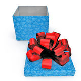 Blue gift-box with red ribbon bow on white. 3D illustration Royalty Free Stock Photo