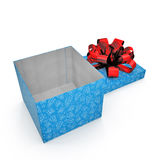 Blue gift-box with red ribbon bow on white. 3D illustration Stock Photography