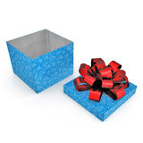 Blue gift-box with red ribbon bow on white. 3D illustration Royalty Free Stock Photography
