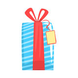 Blue gift box with red ribbon cartoon vector Illustration Stock Photos