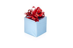 Blue gift box with red ribbon isolated Stock Photography