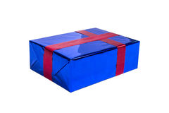Blue gift box with red ribbon Stock Images