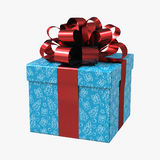 Blue gift box with red ribbon on white. 3D illustration. Blue gift box with red ribbon on white background. 3D illustration Stock Photo