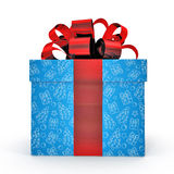 Blue gift box with red ribbon on white. Side view. 3D illustration. Blue gift box with yellow ribbon on white background. Side view. 3D illustration Stock Images