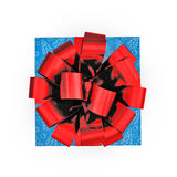 Blue gift box with red ribbon on white. Top view. 3D illustration. Blue gift box with yellow ribbon on white background. Top view. 3D illustration Royalty Free Stock Photo