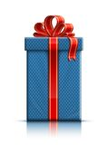 Blue gift box with red silk ribbon Royalty Free Stock Photography