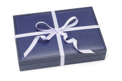 Blue gift box with ribbon Royalty Free Stock Photo