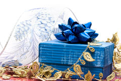 Blue gift box with ribbon royalty free stock photo