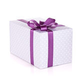 Blue gift box with ribbon and bow Stock Image