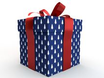Blue Gift box with ribbon bow 3d illustration rendering. Present Royalty Free Stock Photo
