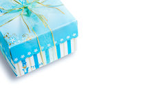 Blue gift box with a ribbon and bow Stock Image