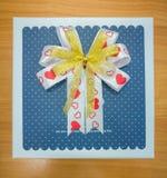 Blue gift box  and ribbon bow Stock Image