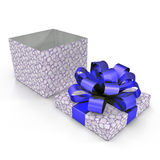 Blue gift-box with ribbon bow on white. 3D illustration. Blue gift-box with ribbon bow on white background. 3D illustration Royalty Free Stock Image