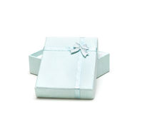 Blue gift box or ribbon isolated on white Stock Image