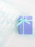 Blue gift box with ribbon pastel background. Fathers day Royalty Free Stock Photography