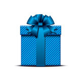 Blue gift box. Gift box with blue ribbon. Vector illustration Royalty Free Stock Image