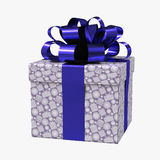 Blue gift box with ribbon on white. 3D illustration. Blue gift box with ribbon on white background. 3D illustration Stock Images