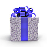 Blue gift box with ribbon on white. Side view. 3D illustration. Blue gift box with ribbon on white background. Side view. 3D illustration Royalty Free Stock Photo