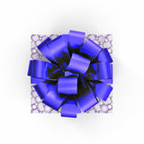 Blue gift box with ribbon on white. Top view. 3D illustration. Blue gift box with ribbon on white background. Top view. 3D illustration Stock Images