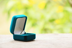 Blue gift box with ring on background of greenery and flowers.Selective focus, toned image, film effect, macro, close-up Royalty Free Stock Photos