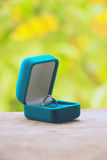 Blue gift box with ring on background of greenery and flowers.Selective focus, toned image, film effect, macro, close-up Stock Images