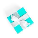 Blue gift box with silver ribbon Royalty Free Stock Photography