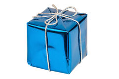 Blue gift box with silver ribbon Royalty Free Stock Images