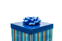Blue gift box. On a white background Stock Photo