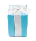 Blue gift box with white bow isolated Stock Images