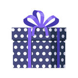 Blue Gift Box with White Dots. Ribbon and Bow. Blue gift box with white dots . Present box with fashionable ribbon and bow. Decorative stylish wrap for presents Royalty Free Stock Image