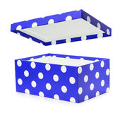 Blue gift box with white polka dots Royalty Free Stock Photo