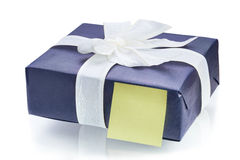 Blue gift box with white ribbon Royalty Free Stock Photo