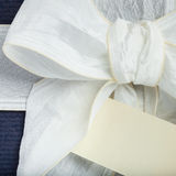 Blue gift box with white ribbon Royalty Free Stock Photography