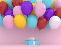 Blue gift box with white ribbon and colorful balloons floating o royalty free illustration