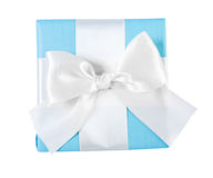 Blue gift box with white ribbon view from the top Royalty Free Stock Photo