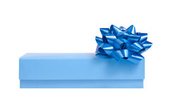 Blue gift box with a wrap bow Stock Photography