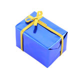 Blue gift box wrinkle corner Royalty Free Stock Photo