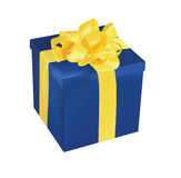 Blue Gift Box With Yellow Ribbon Royalty Free Stock Image