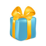 Blue gift box with yellow ribbon and bow isolated on white background. Vector illustration Stock Photo