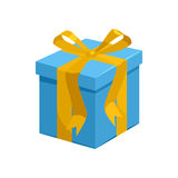 Blue gift box with yellow ribbon icon Stock Photo
