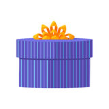 Blue Gift Box with Yellow Ribbon Stock Image