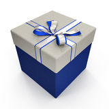 Blue gift box with yellow ribbon on white. 3D illustration. Blue gift box with yellow ribbon on white background. 3D illustration Stock Image
