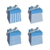 Blue gift boxes with bows Stock Images