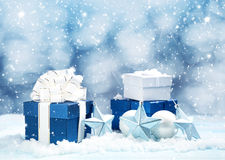 Blue gift boxes with christmas decoration Royalty Free Stock Image