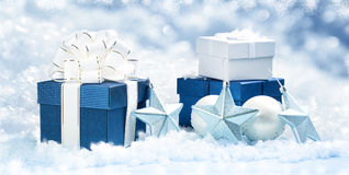 Blue gift boxes with christmas decoration Stock Photo