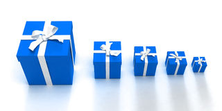 Blue gift boxes crescendo Stock Photography