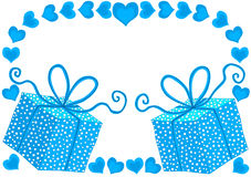 Blue Gift Boxes and Hearts Birthday Card Stock Image