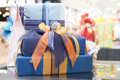 Blue Gift boxes in shopping center Stock Images