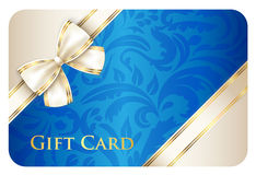 Blue gift card with damask ornament and cream diag Stock Photography